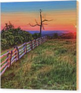Blue Ridge Sunrise At Doughton II Wood Print
