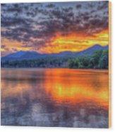 Blue Ridges Lake Junaluska Sunset Great Smoky Mountains Art Wood Print