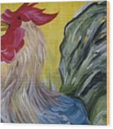Blue Rooster Wood Print