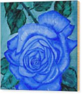 Blue Rose Wood Print