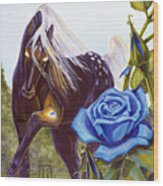 Blue Rose Unicorn Wood Print