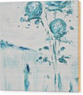 Blue Roses On A Table Wood Print