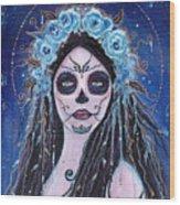 Blue Rosie Wood Print