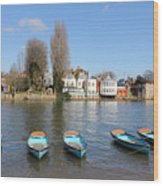Blue Rowing Boats On The Thames At Hampton Court London Wood Print