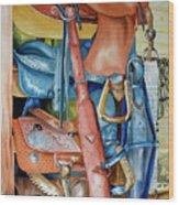 Blue Saddle Wood Print