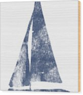 Blue Sail Boat- Art By Linda Woods Wood Print