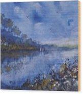 Blue Sail, Watercolor Painting Wood Print