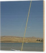 Blue Sailboat II Wood Print by Suzanne Gaff