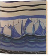 Blue Sailing Boats In The Harbour Wood Print