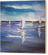 Blue Sailing Wood Print