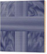 Blue Satin Cross Wood Print