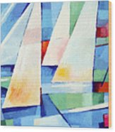 Blue Sea Sails Wood Print