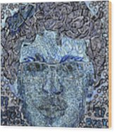 Blue Self Portrait Wood Print