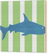 Blue Shark 2- Art By Linda Woods Wood Print