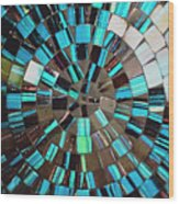 Blue Shiny Stones Gems In A Circular Pattern Wood Print