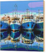 Blue Shrimp Boats Wood Print