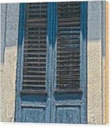 Blue Shutters Wood Print