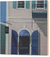 Blue Shutters In Charlotte Amalie Wood Print