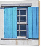 Blue Shutters Of Peniche Wood Print