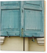 Blue Shutters Rudesheim Wood Print