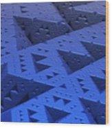 Blue Sierpinski Wood Print