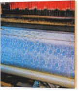 Blue Silk Machine Wood Print