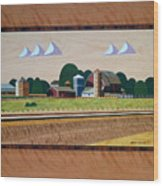 Blue Silo-marquetry Wood Print