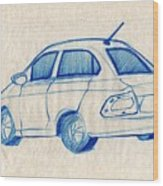Blue Sketch Of A Car From Left Rear View With A Rear Aerial  Wood Print