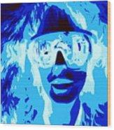 Blue Skier Bob Wood Print