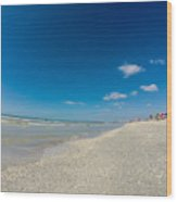 Blue Skies And Soft Sand Wood Print