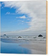 Blue Sky Beaches Wood Print