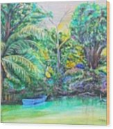 Blue Skiff Wood Print