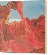 Blue Sky And Orange Rocks Wood Print