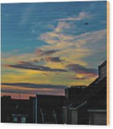 Blue Sky Colorful Sunset Wood Print