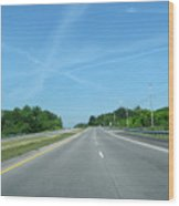Blue Sky Empty Road Wood Print
