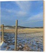 Blue Sky Fence Line Wood Print