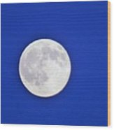 Blue Sky Moon Wood Print