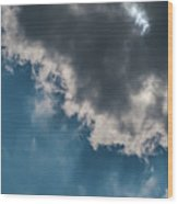 Blue Sky Solar Eclipse Wood Print