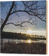 Blue Sky Sunrise On The Marsh Wood Print