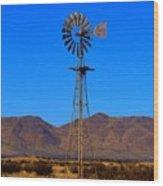 Blue Sky Windmill Wood Print