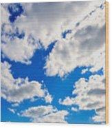 Blue Sky With Cloud Closeup 2 Wood Print