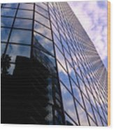 Blue Skyscrapper With A Blue Sky In New Orleans Louisiana Wood Print