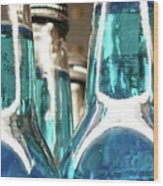 Blue Soda Abstract Wood Print