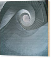 Blue Spiral Stairs Wood Print