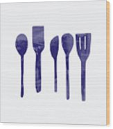 Blue Spoons- Art By Linda Woods Wood Print