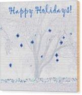 Blue Star Tree Wood Print