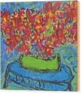 Blue Still Wood Print