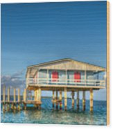 Blue Stiltsville House Wood Print