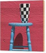 Blue Stool Wood Print
