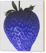 Blue Strawberry Wood Print